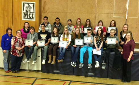 C.H.A.N.G.E. Student  Group, Staff Advisors and Marquis Board Member Kim Burgess at Minnedosa Collegiate