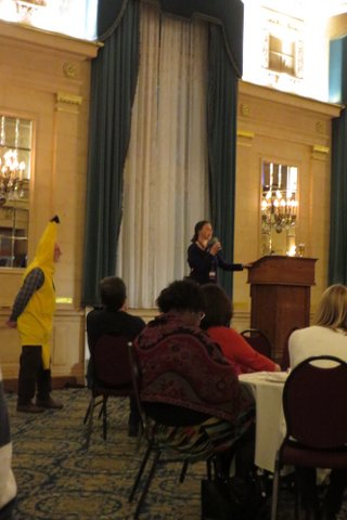 Marquis board member Mireille Saurette addressing the gathering about Fair Trade activities in Brandon