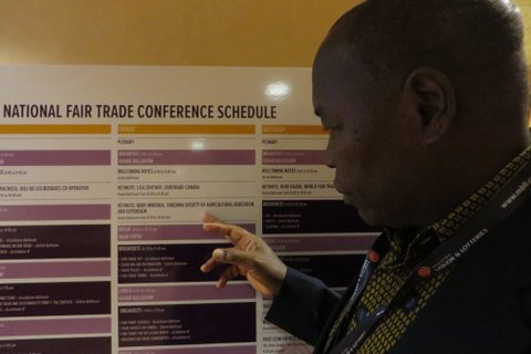 Beny right after he landed, figuring out where he is on the Fair Trade Conference Schedule!